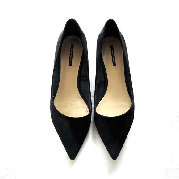 ZARA Low Kitten Heel Pointed Toe Size 8